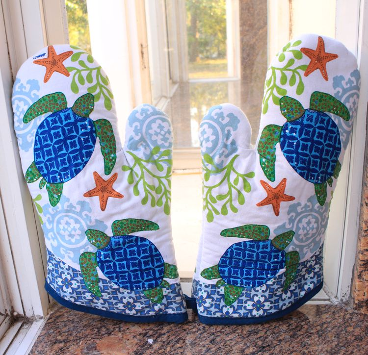 Kitchen cotton printing quilting turtle oven glove - copy