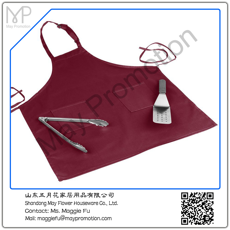 Bib Aprons new Spun Poly Commercial Restaurant Kitchen Adjustable Full length 3 Pockets (Wine)