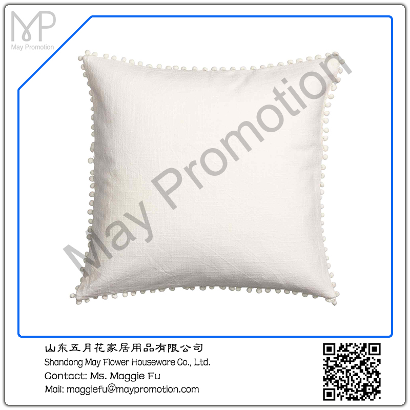 white Pompom linen Cushion with padding