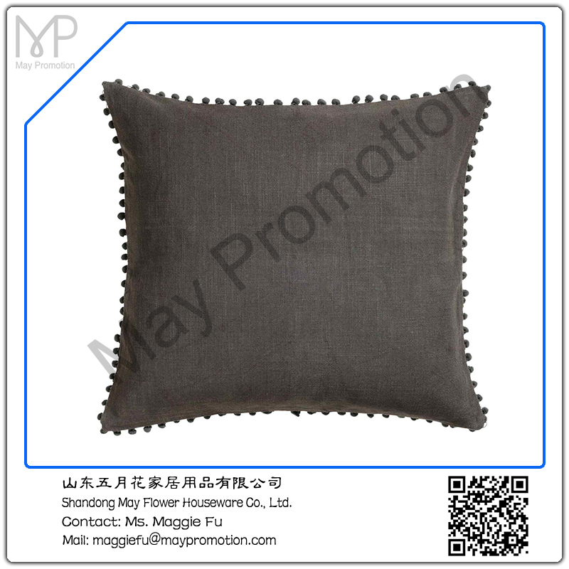 black Pompom linen Cushion with padding
