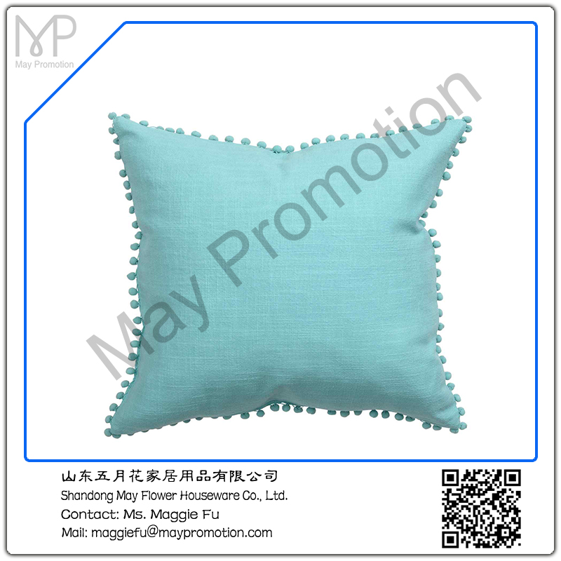 gree blue Pompom linen Cushion with padding