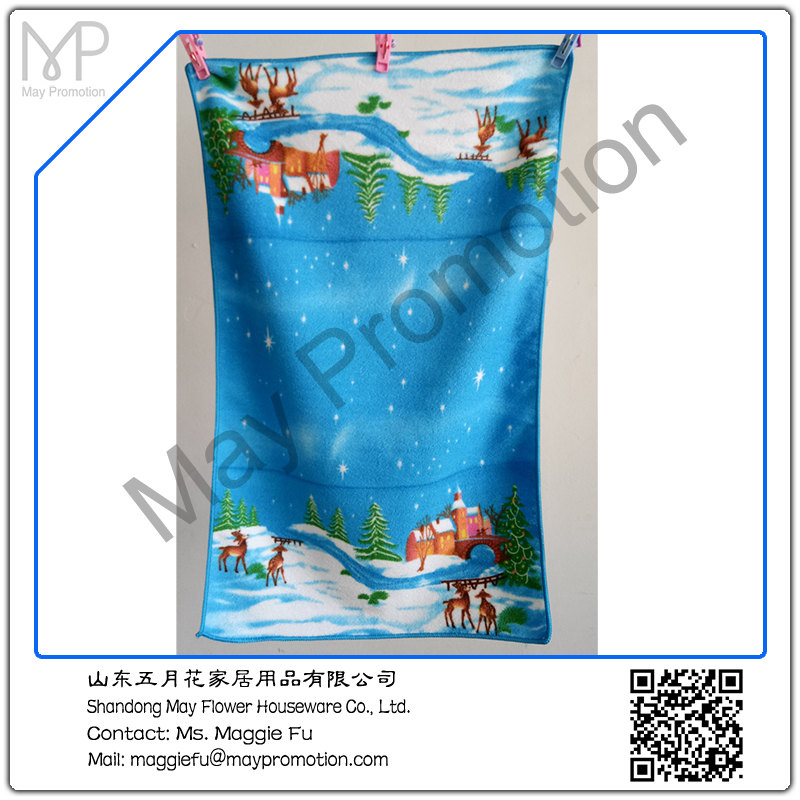 microfiber towel X'mas reindeer kitchen towel by reactive printing for promotion