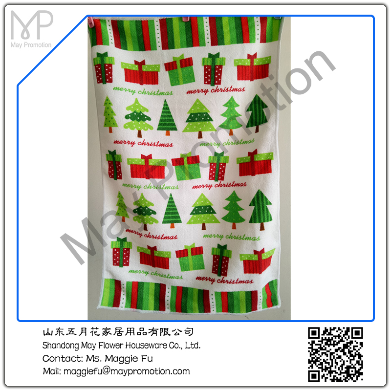 microfiber towel christmas trees gift box kitchen towel by reactive printing for promotion