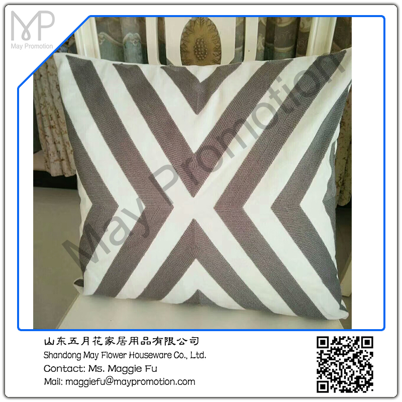 May flower grey geometrical pattern embroidery cushion