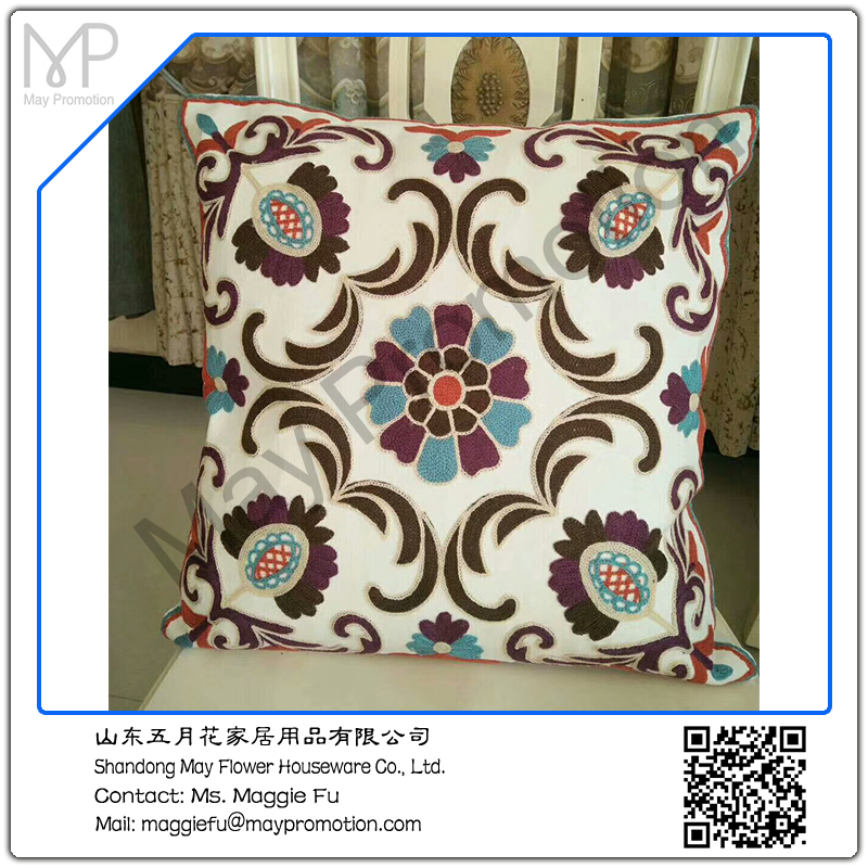 May flower canvas blue embroideried throw pillow floral